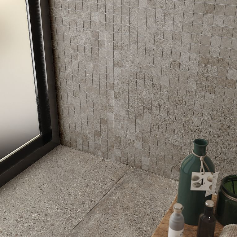 Konkrete Cenere 12 x 24 R11 Anti-Slip Finish & 2 x 2 Mosaic