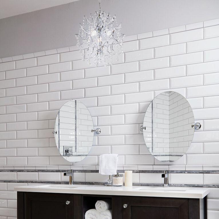 Paloma Cotton Glossy Bevel 4 x 12, Bardiglio Honed Mini Brick & Basketweave Grigio