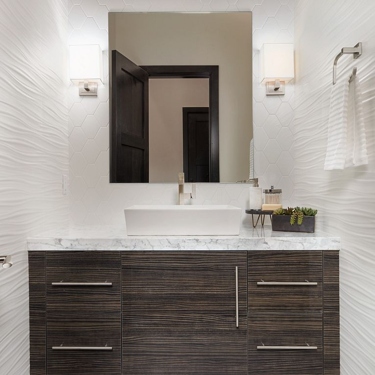 3D White Ribbon Matte 12 x 22, Thassos 12 x 24 (floor), Paloma Cotton Glossy Long Hex 4 x 8 & Bianco Venatino Slab