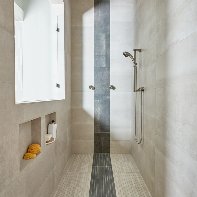 Reside Beige & Black Stack Mosaic (floor) & Matte 12 x 24 (walls)