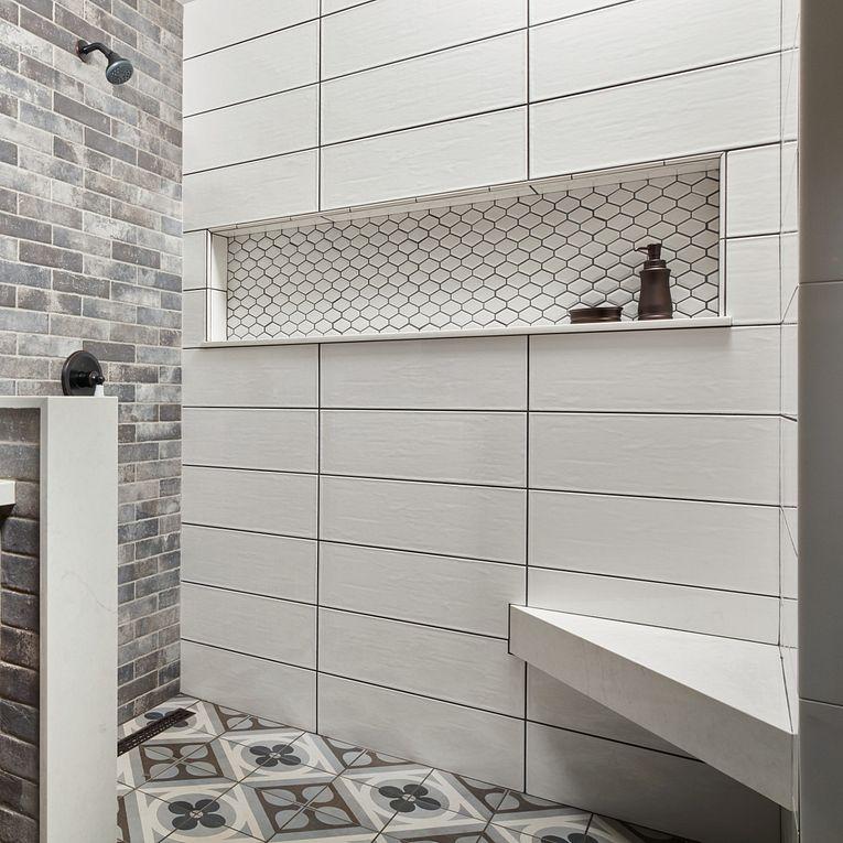 Smooth White Glossy 8 x 24, Castle Brick Grey & Cementine Retro 1 8 x 8
