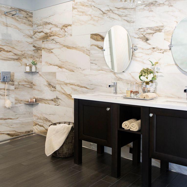 Tru Marmi Gold 24 x 48 Polished (wall) & PN-Ebano 6-1/2 x 40 (floor)