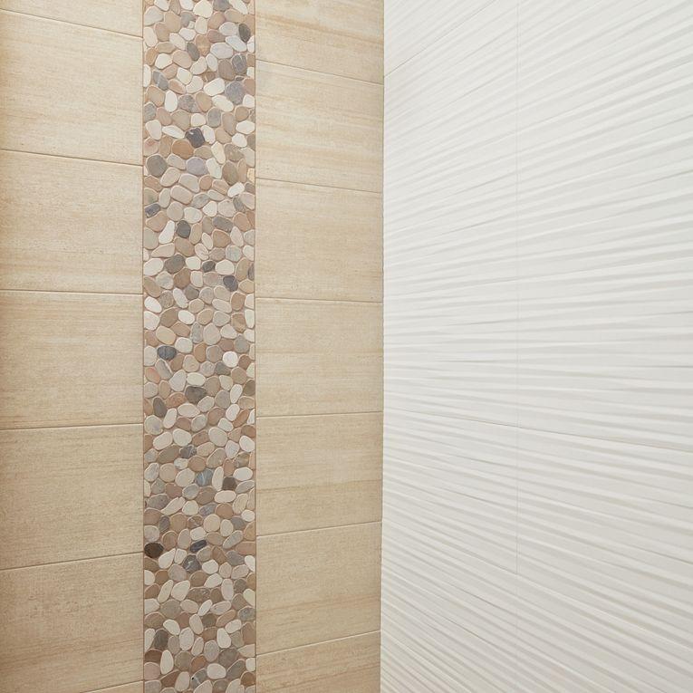 Cemento Cassero Beige 12 x 24, Flat Pebble Warm Blend & 3D White Blade 12 x 22