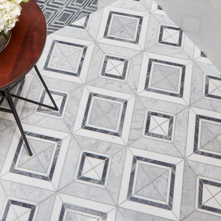 Harlow Grigio & Thassos White 12 x 24 (wall) Diamond Bianco (floor)