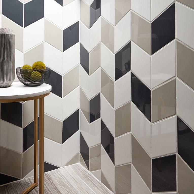 Paloma Pumice, Cotton & Steel Glossy Rhomboid 6 x 10