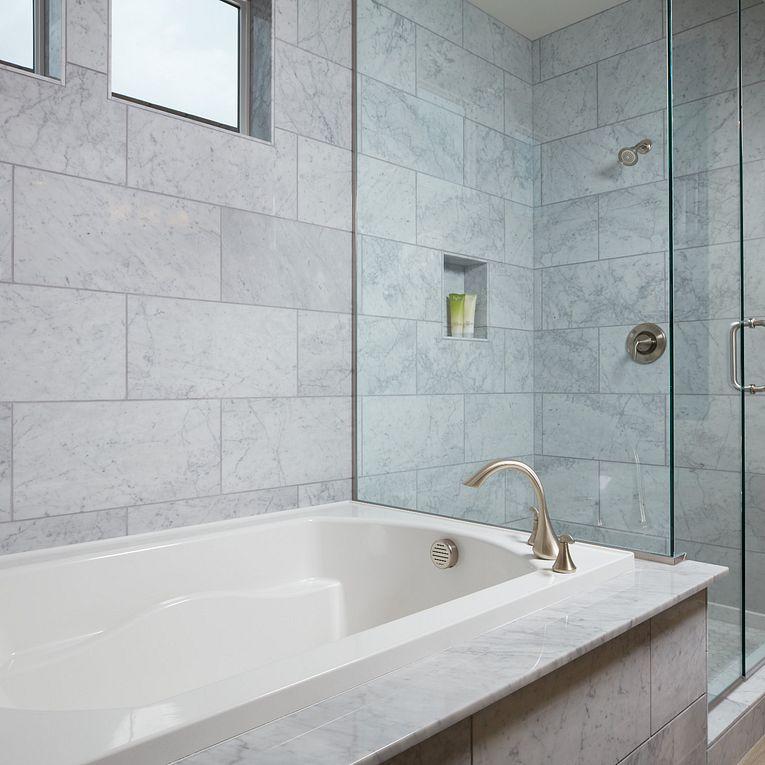 Bianco Carrara Polished 12 x 24, Sav Wood Tortora