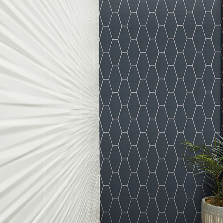 Paloma Steel Glossy Long Hex 4 x 8, 3D White Blade Matte 12 x 22 & More Wood Grigio 8 x 32