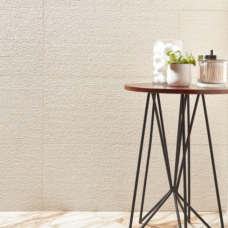 Classsic Limestone Combed 12 × 24 (wall) & Tru Marmi Gold Polished 12 x 24