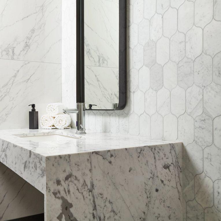 CS-Bianco Venatino Honed Lotus & Tru Marmi Venatino Polished 24 x 48 (wall)