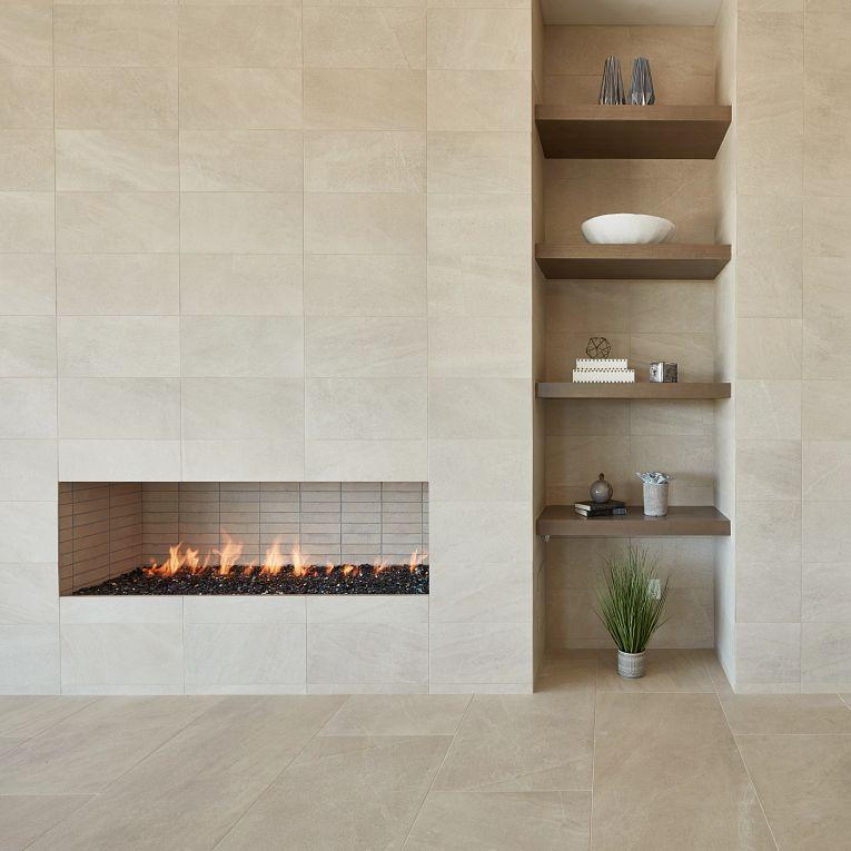 Pietra Italia White 12 x 24 (wall) & Beige 24 x 48 (floor)