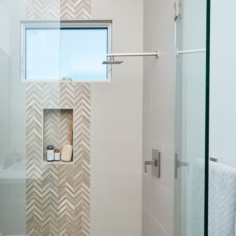 Touch Summer 12 x 24 (field tile) and Chevron Silver Mesh (accent)